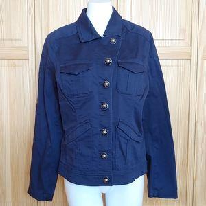 Express Light Weight Navy Blue Button Up Jacket